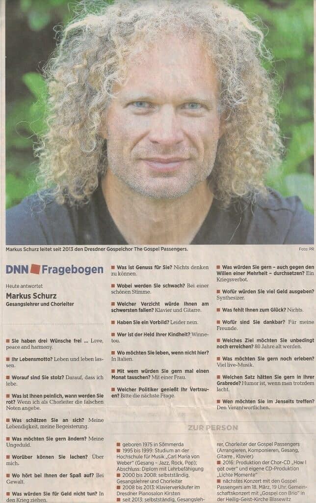 Markus Schurz - Künstlerischer Leiter der Gospel Passengers